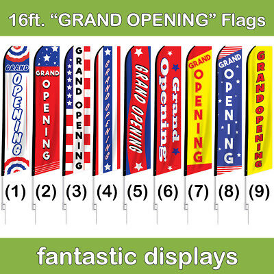 16ft Business GRAND OPENING Swooper Advertising Flag Banner with Pole and Spike
