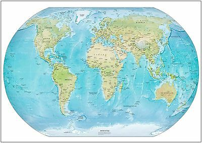 World Map Detailed Wall Art Large Poster Print A0 A1 A2 A3 A4