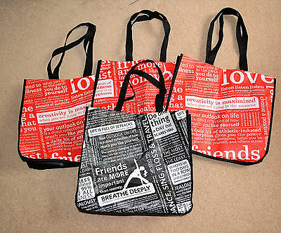4 Large Lululemon Reusable Shopping Bags Totes ~ 3 Red 1 Black ~ Snap Closure
