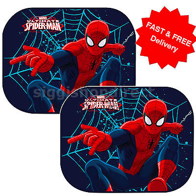 2 x New Spiderman Ultimate Car Window Sun shades UV Blinds Children Kids Baby 64