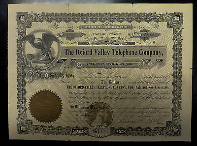 {BJSTAMPS}  OXFORD Valley Telephone Co.NY $4000 Capital STOCK Certificate 1909
