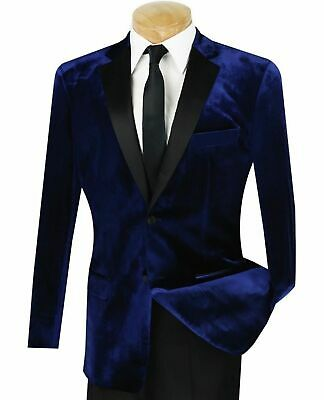 Vinci Men's Navy Blue Velvet Slim-Fit Tuxedo Suit w/ Sateen Lapel & Trim NEW