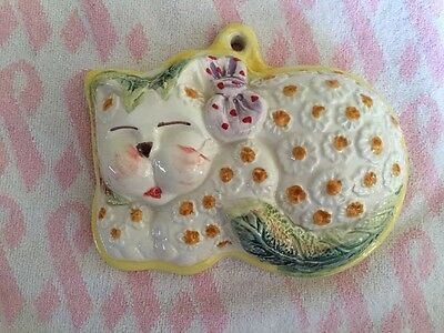 Da Forno ITALY Painted CAT Vintage Ceramic Wall Hanging *RARE*