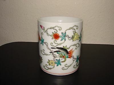 Antique Chinese Porcelain Brush Pot  hand painted Signed