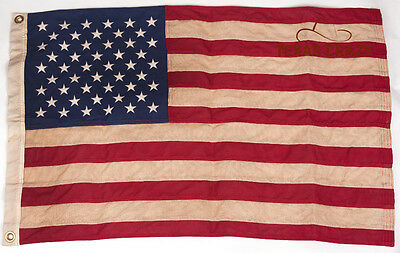 Vintage Tea Stained Cotton Large 4 x 6 Foot 50 Star US American Flag