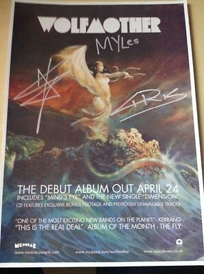 Wolfmother reprint of autographed A4 flyer for release of debut album