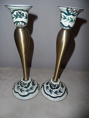 A Set of 2 Vintage Brass & Porcelain Candlestick Holders Green & White