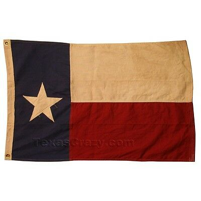 Vintage Decor Tea Stained Cotton 4 X 6 Texas Flag