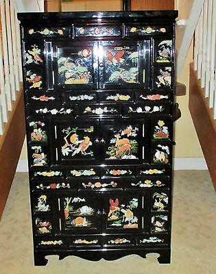 Chinese Jade Stone Carving Apothecary Cabinet Jewelry Box Chest Black Lacquer VG