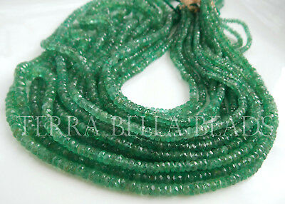 "8"" natural ZAMBIAN EMERALD faceted precious gem stone rondelle beads 2mm - 4mm"