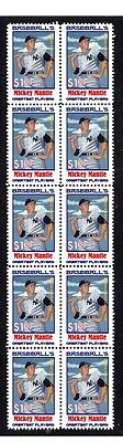Mickey Mantle Baseballs Greats Strip Of 10 Mint Stamps