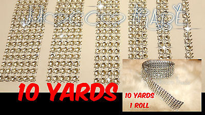 9M Length Silver Diamante/ Diamonte Rhinestone Effect Mesh Ribbon Cake Trim