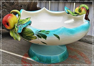 Vtg? Ceramic Footed FRUIT BOWL Made ITALY Hand Painted LEAVES APPLES w/ Handles