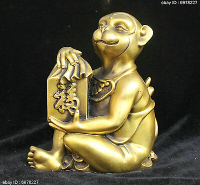 Chinese Fengshui Bronze Lucky Wealth Yuanbao Zodiac Year Monkey Statue Sculpture