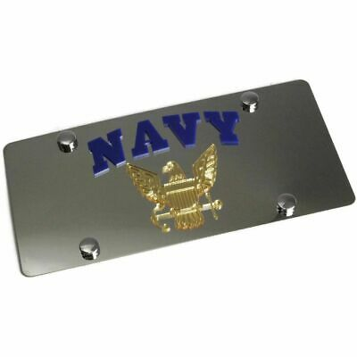 Stainless Steel Plate Navy Gold Logo Blue License Plate Frame 3D Novelty Tag