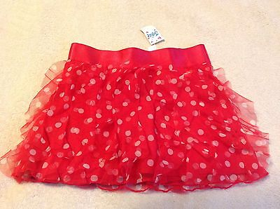 Justice Girls New Nwt Size 10 Red With Polka Dot Ruffle Skort