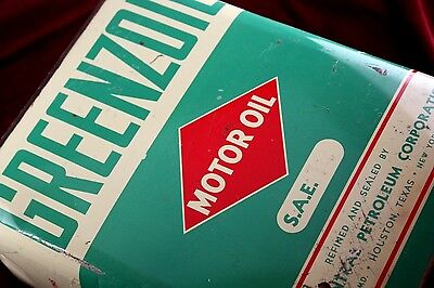 ** Antique Gas Station Greenzoil Motor Oil Can 1948 Old Advertising 2 Gallon **