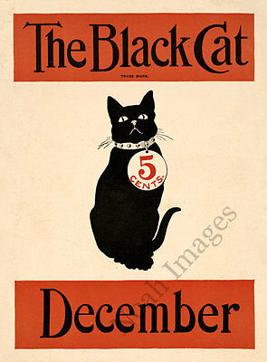 The Black Cat Decemebr vintage literature poster repro 18x24