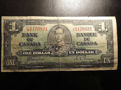 1937 BANK OF CANADA $ 1 ONE DOLLAR COYNE TOWERS J/N 1176821 BC-21d