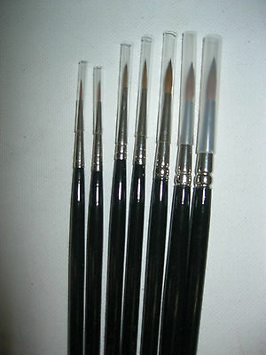 Pure Red Sable Round Artist Oil Brush Long Handle 7 Sizes Available