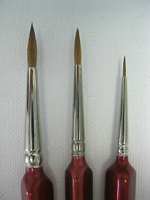 Set of 3pcs PURE RED SABLE ARTIST QUALITY BRUSHES #0-3-5 Made in Germany
