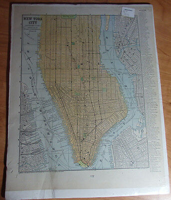 1902 Color Map Of The Southern Portion Of New York City People Publishing