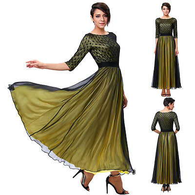 Vintage Women Formal Bridesmaid Long Evening Party Ball Prom Gown Cocktail Dress