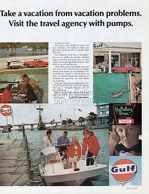 1968 Gulf Gas Station Logo Holiday Inn Sign Vacation 1960s Travel Decor Photo Ad