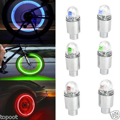 2PCS Car Motorcycle Wheel Bicycle Tire Tyre Valve Cap Spoke LED Flash Light Lamp