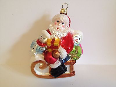 Polish Blown Glass Santa With Childrens Hand Painted  4.5 Inches Tall