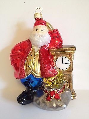 Polish Blown Glass Santa With Clock Hand Painted Around 5.5 Inches