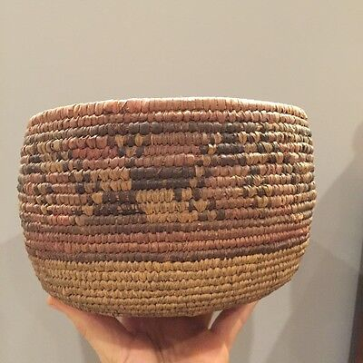 antique early native very fine weave woven pictoral basket