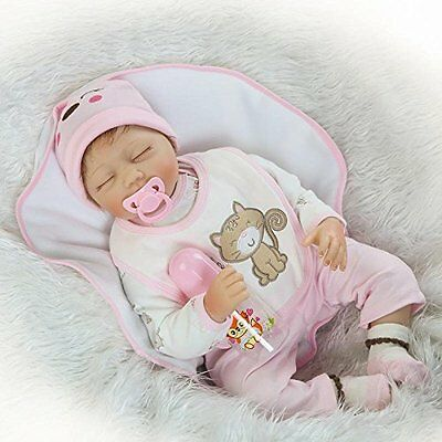 """Realistic Baby Girl Reborn Doll Soft Silicone Vinyl 22"""" Doll Pink Sleeping Toy"""