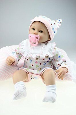 "Lifelike Reborn Baby Doll Real Soft Touch Rooted Hair 17"" Life Size Girl Doll"