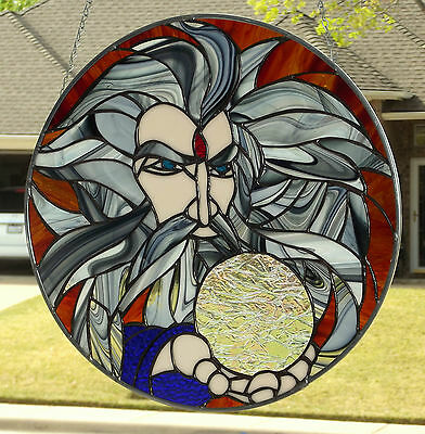 """Stained Glass Window Panel """"The Wizard"""""""