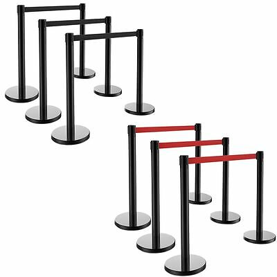 6pcs Retractable Belt Stanchion, 3 Sets, Red/ Black Belt, Crowd Control Barrier
