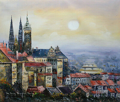 Original knife Hand Painted Prague Oil painting Wall art Deco on Canvas prg047
