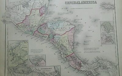 1857 antique map Mexico Central America Nicaragua Route Isthmus of Panama Colton