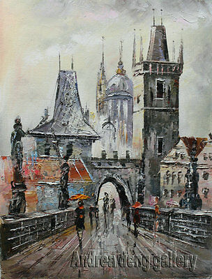 Original knife Hand Painted Prague Oil painting Wall art Deco on Canvas prg075