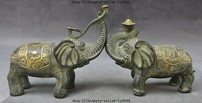 "6"" old china bronze fengshui Auspicious wealth yuanbao ruyi elephant statue pair"