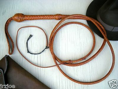 9 ft 8 Plait TAN Raiders BullWhip INDIANA JONES Real Leather WHIP #W35