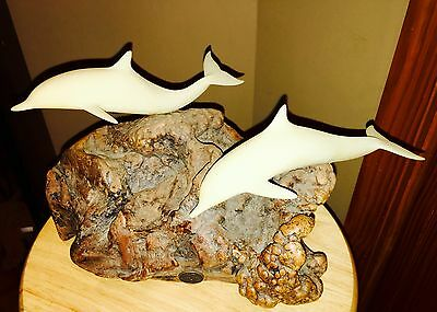 Rare Edition JOHN PERRY STUDIOS Large DOLPHINS SCULPTURE ON large BURL WOOD BASE