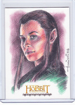 2015 Hobbit Desolation Of Smaug Tauriel Sketch by Todd Aaron Smith 1/1 AWESOME