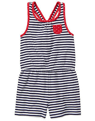 NWT Gymboree RED WHITE & CUTE Navy Blue & White Striped X-Back Shorts Romper~8~
