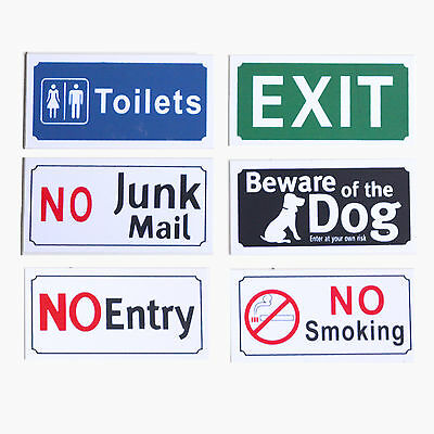 Sticker Sign Adhesive No Junk Mail Entry Smoking Exit Toilets Beware of The Dog