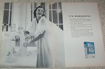 1956 advertising WHITE MAGIC Laundry detergent Newport Soap lady lingerie OLD AD