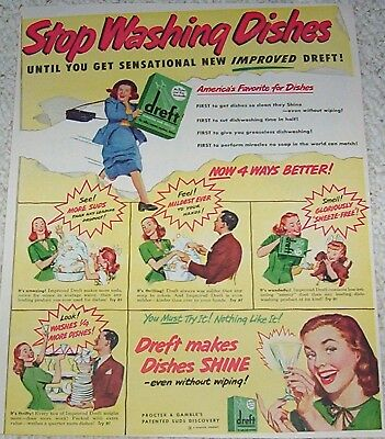 1948 vintage ad - Dreft dishwashing dish soap Procter & Gamble print ADVERTISING