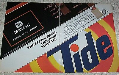 1985 ad 2-pages - TIDE laundry soap detergent & Maytag washers PRINT ADVERTISING