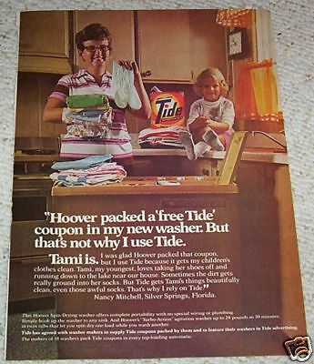 1975 vintage ad - TIDE Laundry soap Hoover Washer - NANCY MITCHELL print AD