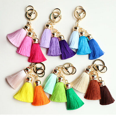 Fashion Fluffy Tassel Charm Car Keychain Women Handbag Pendant Keyring Holder